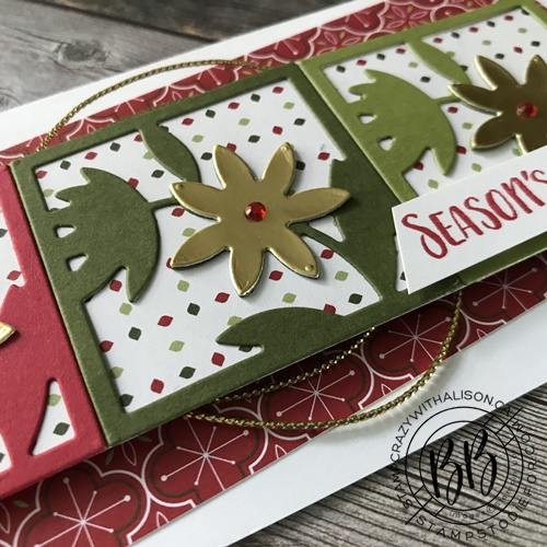 Close up image of a Just in CASE card showing the color palette of the hand stamped card using the Floral Squared Dies and All Squared Away Stamp Set by Stampin Up