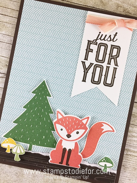 Sunday Sketches SS003 Just for You Card using Foxy Friends stamp set & Fox Builder Punch by Stampin' Up! www.stampstodiefor.com 2