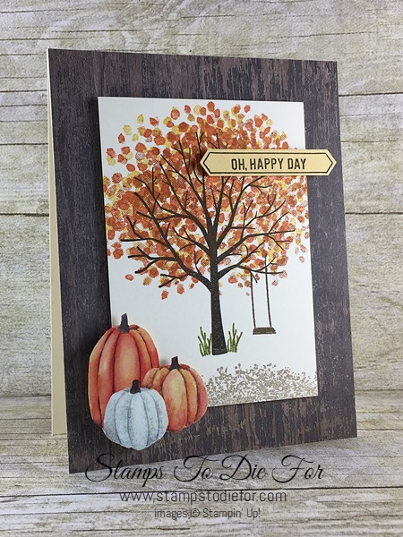 Sheltering Tree stamp set and Wooden Textures & Painted Autumn Designer Series Papers (DSP) by Stampin' Up!  Pumpkins & Fall Card www.stampstodiefor.com