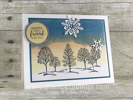 Color Your World International Blog Hop  Lovely as a Tree stamp set  & Seasonal Layers Thinlits Dies by Stampin' Up!  Glossy Cardstock technique www.stampstodiefor.com #lovelyasatree #seasonallayersdies #blo (3)