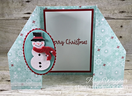 Double Gate Fold Card using Let it Snow Suite of Products by Stampin Up gate open