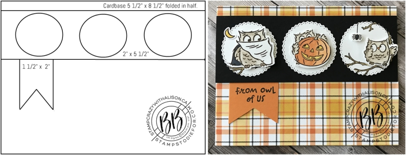 Card created using a card sketch using the Have a Hoot Stamp Set by Stampin' Up! horz