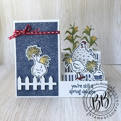 Birthday card createad with fun folde side step card and hey chick bundles by Stampin Upwm