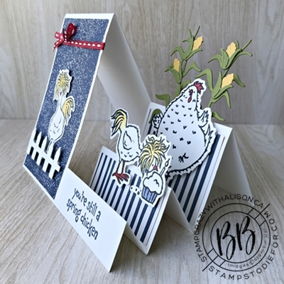 Birthday card createad with fun folde side step card and hey chick bundles by Stampin Up (3)wm