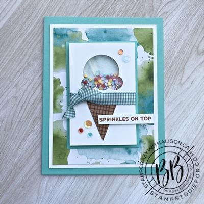 Birthday shaker card using the Sweet Ice Cream stamp set by Stampin Upwm
