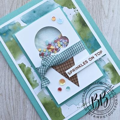 Birthday shaker card using the Sweet Ice Cream stamp set by Stampin Up (2)wm