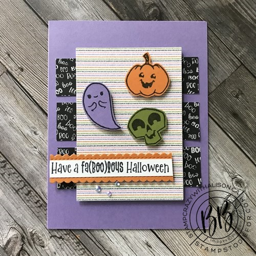 Image of card hand stamped using the Cutest Halloween Stamp set Halloween punch and Cute Halloween paper by Stampin Up (2)