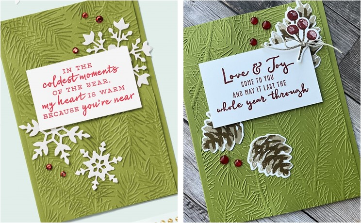 CASE Card using the Christmas Season stamp set and seasonal label dies with original card inspiration