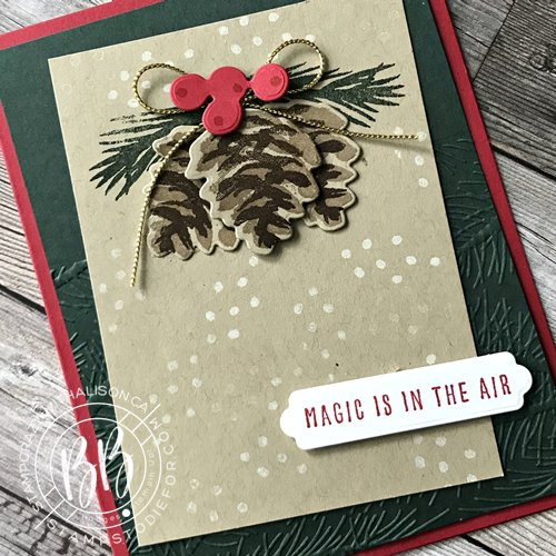 Hand stamped card featured in our Border Buddy Free PDF Tutorial using the Christmas Season Stamp Set by Stampin Up!