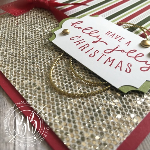 Image of Step 3 Christmas Card using the Be Dazzling Specialty paper by Stampin Up