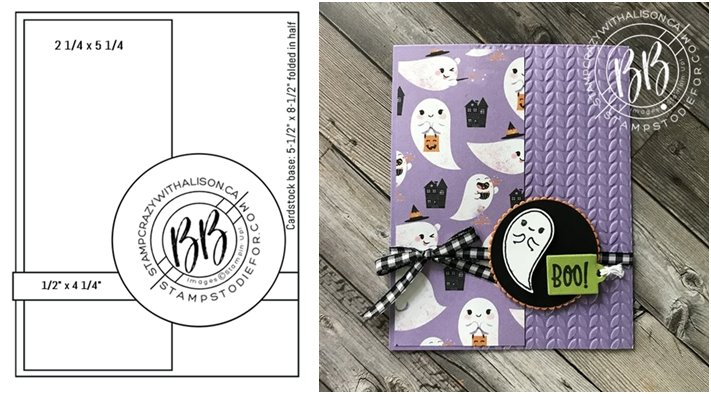 Image of card sketch and hand stamped card using the Cutest Halloween Stamp set Halloween punch and Cute Halloween paper by Stampin Up