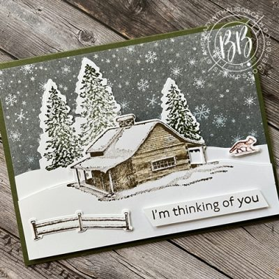Thinking of You card created with the Peaceful Cabin Bundle and Peaceful Place Designer Series Paper with snow falling design