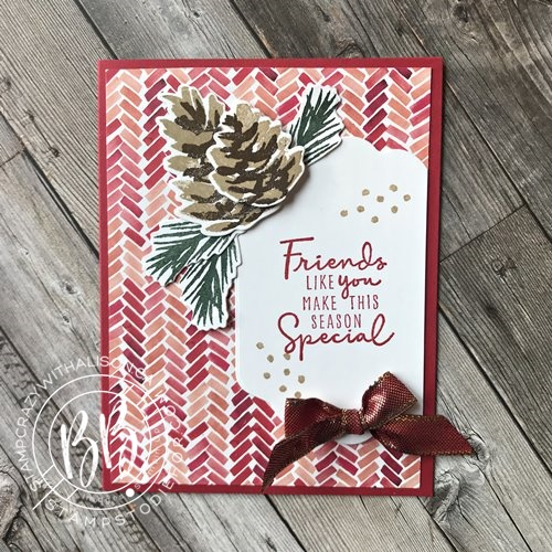 Hand stamped Christmas card using the Christmas Season Stamp Set and Seasonal Label Dies by Stampin Up