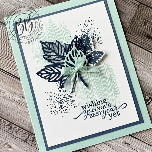 Fall Card created with the Gorgeous Leaves Stamp Set and Intricate Leaves Dies in blue tones non fall colors