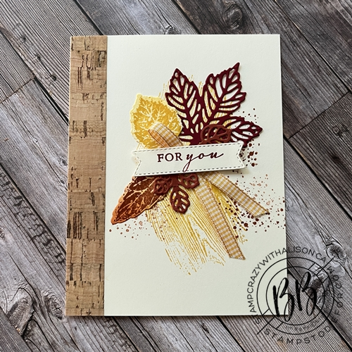 Fall Card created with the Gorgeous Leaves Stamp Set and Intricate Leaves Dies with Cork Paper