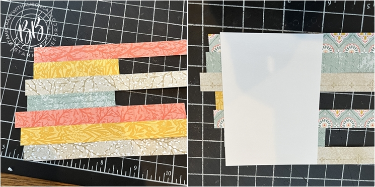 Meadow Harvest Designer Series Paper strips to create colorful leaf