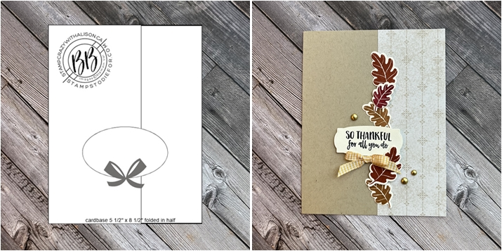 Sunday Sketch Card SS071 and stamped fall card