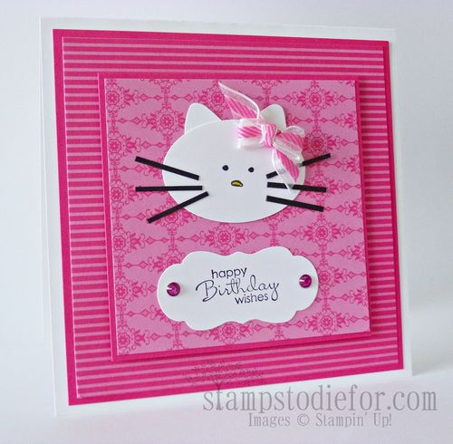 Hello Kitty with Stampin up punches and paper