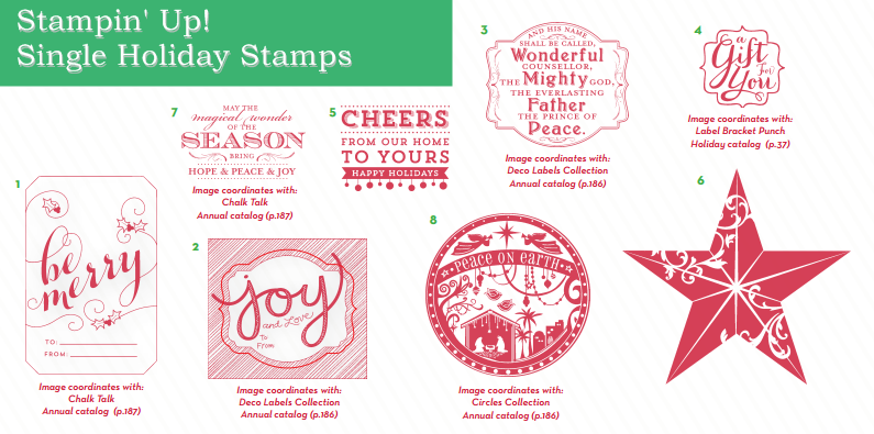 Single Stampin Up Christmas Stamps