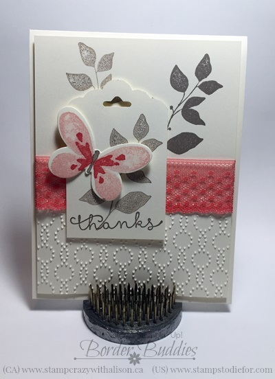 watercolor wings stamp set, dotted lace trim, elegant dots embossing folder www.stampstodiefor.com