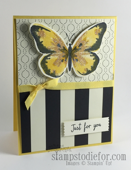 Watercolor Wings Black and Yello Just for You Card #stampinup #watercolorwings