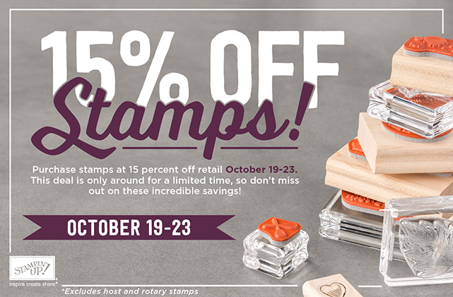 Stampin Up 15% off all stamps sets. www.stampstodiefor.com