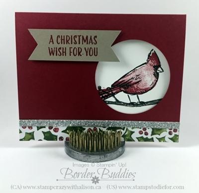 Joyful Season Circle Punch Cardinal Card www.stampstodiefor.com #stampinup #joyfulseasons #Christmascards