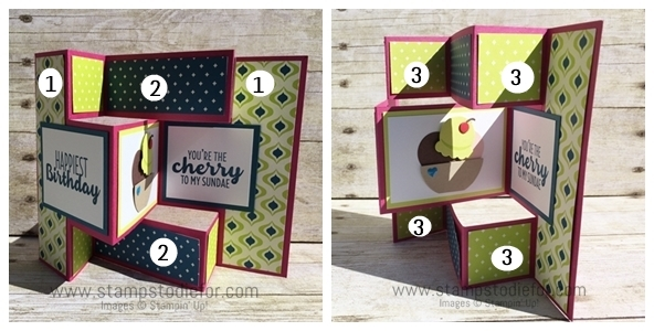 Trifold Shutter Card Directions Tutorial www.stampstodiefor.com horz