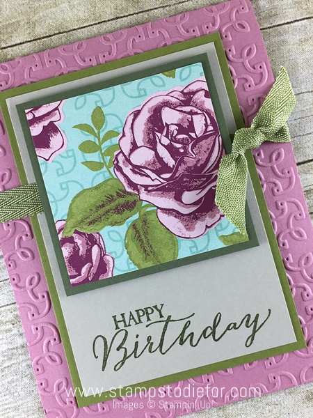 Color Your World International Blog Hop Birthday Card using Petal Garden Designer Series Paper  Butterfly Basics & Garden Trellis Embossing Folder by Stampin' Up! www.stampstodiefor.comc2