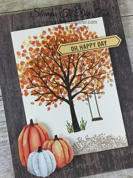 Sheltering Tree stamp set and Wooden Textures & Painted Autumn Designer Series Papers (DSP) by Stampin' Up!  Pumpkins & Fall Card www.stampstodiefor.com 3