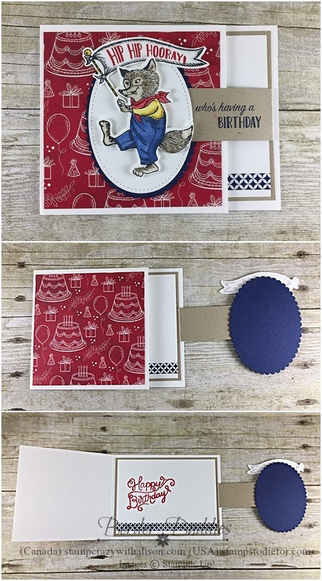 December Border Buddies PDF Card Free Tutorial - Fun Fold Flap Card Birthday Delivery Stamp Set by Stampin' Up! www.stampstodiefor.com Top Ten Card for Diva and Dude Stampers portrait