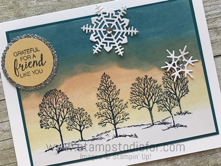 Color Your World International Blog Hop  Lovely as a Tree stamp set  & Seasonal Layers Thinlits Dies by Stampin' Up!  Glossy Cardstock technique www.stampstodiefor.com #lovelyasatree #seasonallayersdies #blo