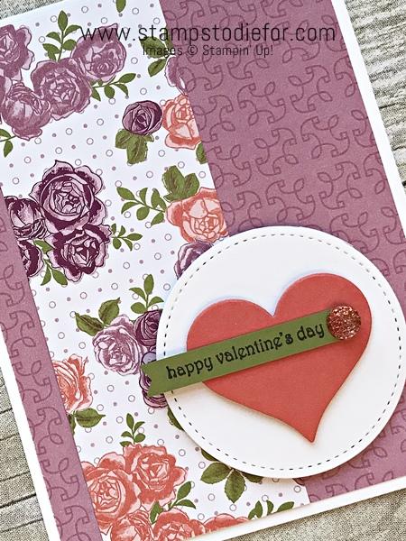 Valentines Card using Petal Garden Designer Paper & Hearts Framelits by Stampin' Up! www.stampstodiefor.com 2