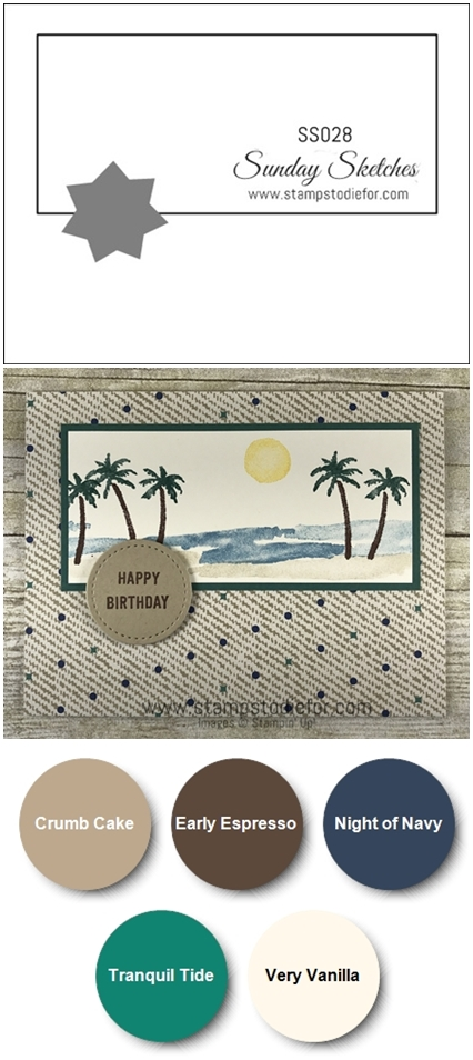 SS028 hand stamped birthday card for men using the Waterfront stamp set by Stampin Up (masculine card) vert