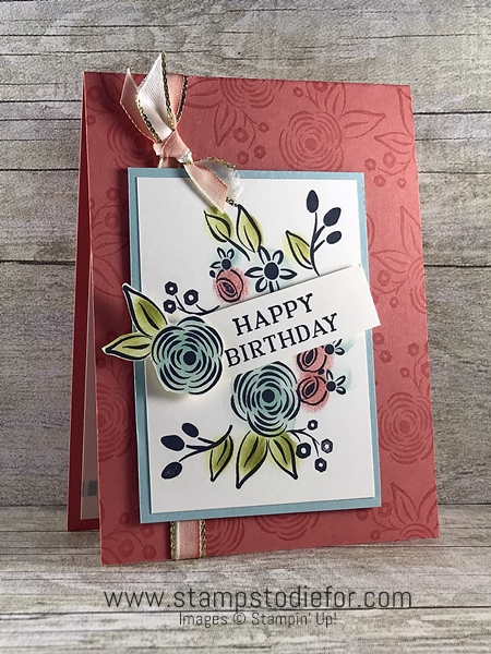 Handstamped Birthday Card using the Perennial Birthday stamp set by Stampin Up