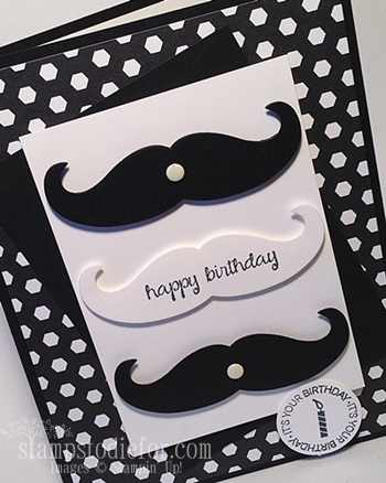 Mustache framelit Birthday card 2