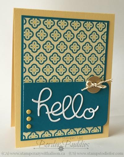 Hello You Thinlits Die Card Stampin' Up! www.stampstodiefor.com #stampinup #bigshot #thinlitsdies
