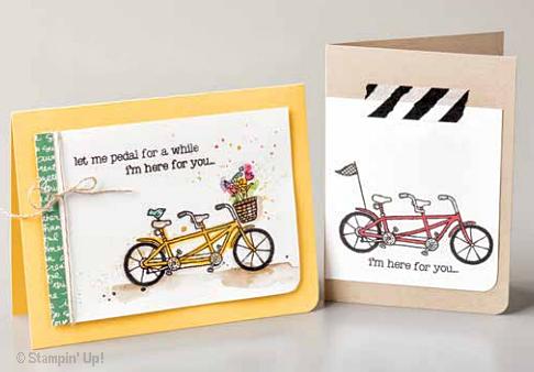 Pedal Pushers 2016 Stampin' Up! Sale-a-bration stamp set handstamped cards