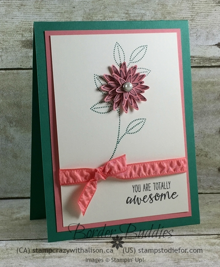 Grateful Bunch Stamp Set, Flirty Flamingo Cardstock, Flirty Flamingo Rushed Ribbon, All Occasion Card, #stampinup www.stampstodiefor.com