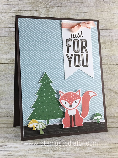 Sunday Sketches SS003 Just for You Card using Foxy Friends stamp set & Fox Builder Punch by Stampin' Up! www.stampstodiefor.com