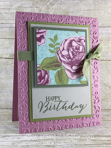 Color Your World International Blog Hop Birthday Card using Petal Garden Designer Series Paper  Butterfly Basics & Garden Trellis Embossing Folder by Stampin' Up! www.stampstodiefor.com