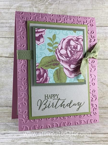 Color Your World International Blog Hop Birthday Card using Petal Garden Designer Series Paper  Butterfly Basics & Garden Trellis Embossing Folder by Stampin' Up! www.stampstodiefor.com