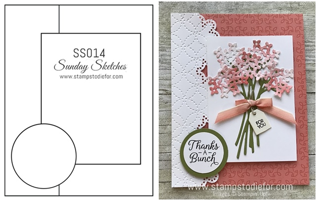 Sunday Sketches SS014 Beautiful Bouquet stamp set by Stampin' Up! www.stampstodiefor.com #cardsketch #cardtemplate #stampinup #beautifulbouquet horz