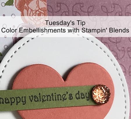 Valentines Card using Petal Garden Designer Paper & Hearts Framelits by Stampin' Up! www.stampstodiefor.com Coloring Gems 2