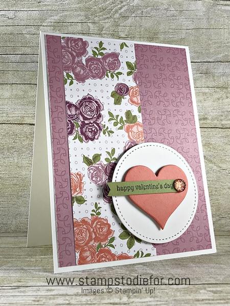 Valentines Card using Petal Garden Designer Paper & Hearts Framelits by Stampin' Up! www.stampstodiefor.com