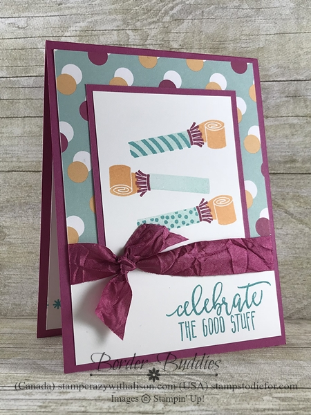 Border Buddy handmade birthday card using the Picture Perfect Birthday stamp set from Stampin Up happiest birthdays