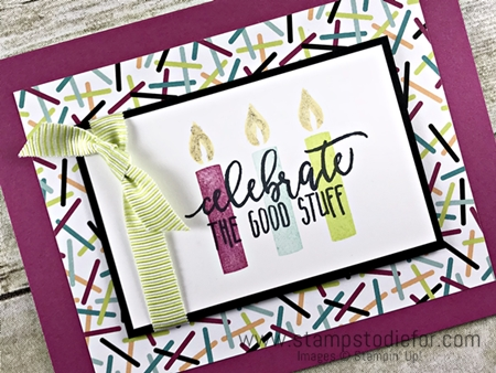 SS027 handstamped birthday card using Picture Perfect Birthday stamp set by Stampin Up 1