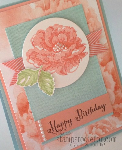 Stampin Up Calypso coral stippled blossoms