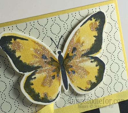 Watercolor wings stamp set black and yellow #stampinup #watercolorwings #timelesselegance www.stampstodiefor.com