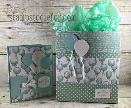 Balloon Celebration stamp set and  Birthday Bouquet Paper Gift Bag #stampinup www.stampstodiefor.com